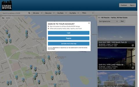 Screenshot of Maps & Directions Page condonova.ca - Halifax Real Estate For Sale | Condo Nova - captured July 15, 2016