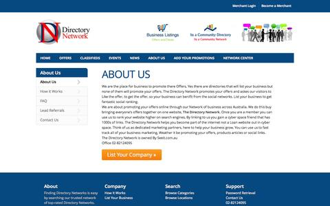 Screenshot of About Page directorynetwork.com.au - About The Directory Network Directory - Directory Network - The Directory Network Directory - captured Nov. 4, 2014