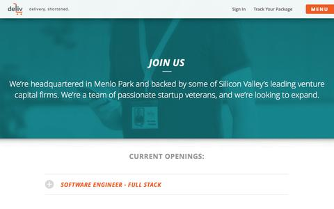 Screenshot of Jobs Page deliv.co - Deliv - captured Oct. 28, 2014