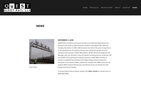 Screenshot of Press Page questrail.com - News — QuEST Rail LLC - captured Dec. 14, 2018