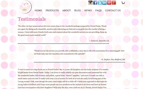 Screenshot of Testimonials Page periodpacks.com - What Clients Say About Period Packs - Testimonials - captured July 28, 2017
