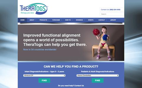 Screenshot of Home Page theratogs.com - TheraTogs | Therapy You Wear - captured Oct. 18, 2018