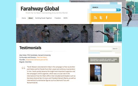 Screenshot of Testimonials Page farahwayglobal.com - Testimonials | Farahway Global - captured Aug. 3, 2016