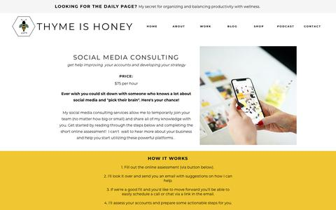 Screenshot of Services Page thyme-is-honey.com - WORK - captured Sept. 24, 2018