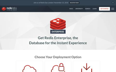 Screenshot of Trial Page redislabs.com - Get Started With Redis Enterprise | Redis Labs - captured Sept. 19, 2018