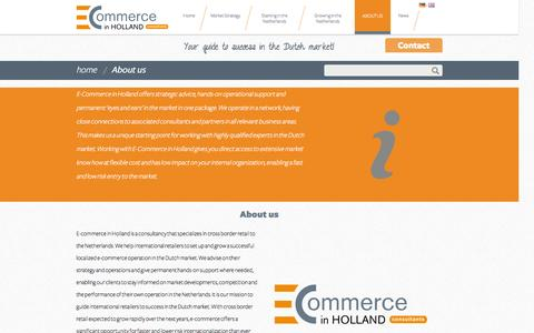 Screenshot of About Page ecommerceinholland.com - About us | E-Commerce in Holland - captured Sept. 26, 2014