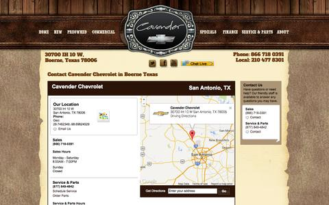 Screenshot of Contact Page Maps & Directions Page cavenderchevrolet.com - Contact Cavender Chevrolet in Boerne TX - captured Oct. 22, 2014