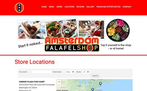 Screenshot of Locations Page falafelshop.com - Locations - Amsterdam Falafelshop - captured Nov. 12, 2018