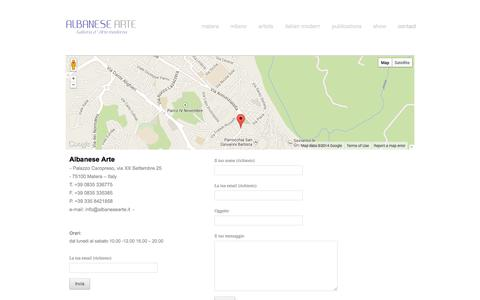 Screenshot of Contact Page albanesearte.it - Contatti - Albanese Arte - captured Oct. 4, 2014