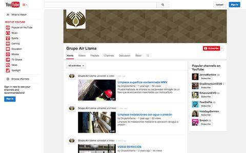 Screenshot of YouTube Page youtube.com - Grupo Air Llama  - YouTube - captured Oct. 27, 2014