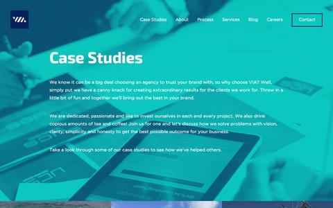 Screenshot of Case Studies Page viacreative.co.uk - VIA Creative · Case Studies - captured June 12, 2017