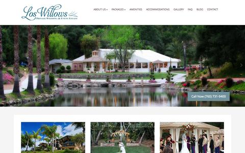 Screenshot of Home Page loswillows.com - Los willows - San Diego Wedding Venue - captured Sept. 18, 2015
