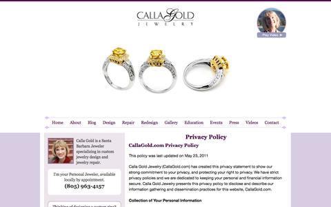 Screenshot of Privacy Page callagold.com - Calla Gold Jewelry Privacy Policy - captured Sept. 22, 2018