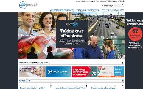 Screenshot of Home Page vecci.org.au - VECCI - captured Sept. 23, 2014