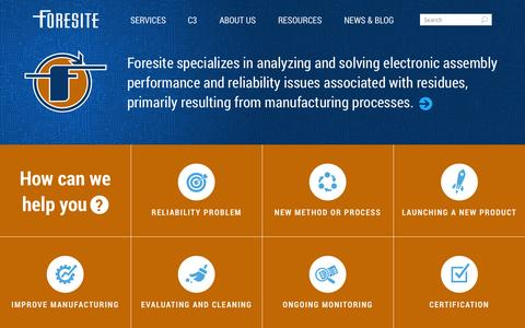 Screenshot of Services Page residues.com - Foresite, Inc | Home - captured Oct. 6, 2014