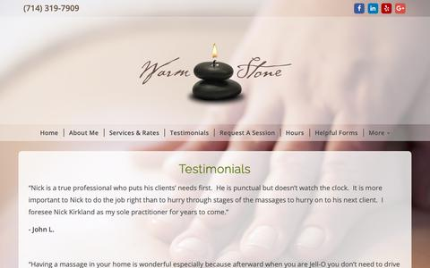 Screenshot of Testimonials Page warmstonemassage.net - Warm Stone Massage Therapy - captured Oct. 2, 2018