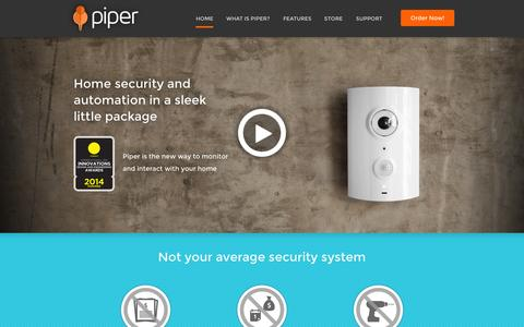 Screenshot of Home Page getpiper.com - Smart, elegant, security and home automation | Piper - captured Sept. 19, 2014