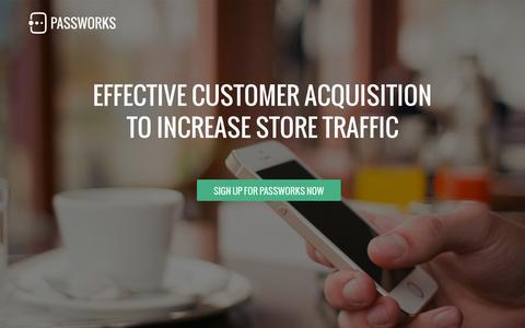 Screenshot of Home Page passworks.io - Passworks: Mobile Wallet Marketing - Passbook, Google Wallet, Beacons - captured July 11, 2014