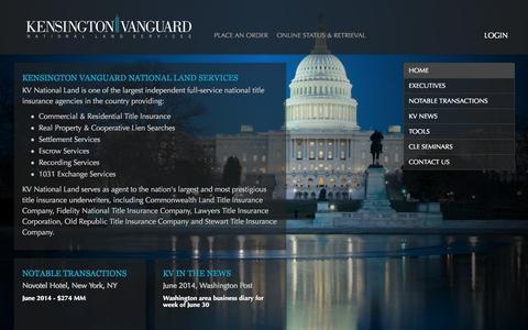 Screenshot of Home Page kv-dcmetro.com - Kensington Vanguard National Land Services - captured Oct. 2, 2014
