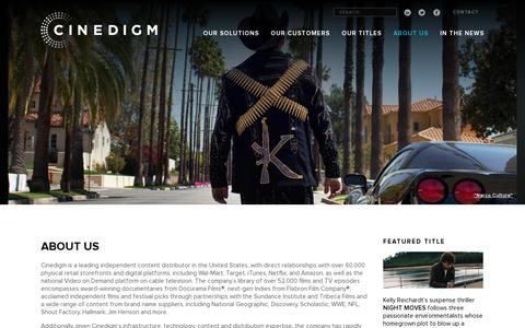 Screenshot of About Page cinedigm.com - ABOUT US | Cinedigm - captured July 20, 2014