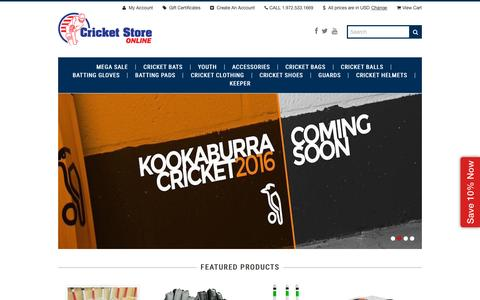 Screenshot of Home Page cricketstoreonline.com - Cricket Store Online | 1.972.533.1669 - captured Oct. 24, 2015