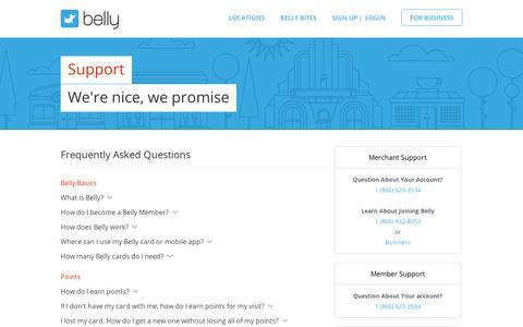 Screenshot of Support Page bellycard.com - Support | Belly - Full of Rewards - captured Sept. 11, 2014