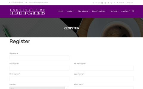 Screenshot of Signup Page instituteofhealthcareers.com - The Institute of Health Careers - captured Aug. 6, 2016