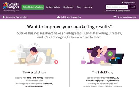 Screenshot of Home Page smartinsights.com - Digital marketing strategy advice - Smart Insights Digital Marketing - captured July 7, 2019