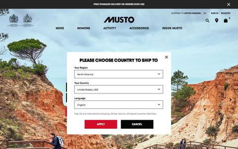 Screenshot of Home Page musto.com - Sailing, Equestrian & Shooting Clothing | Musto Official Site - captured July 15, 2019