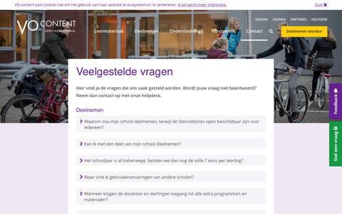 Screenshot of FAQ Page vo-content.nl - Veelgestelde vragen - VO-Content - captured Feb. 16, 2016