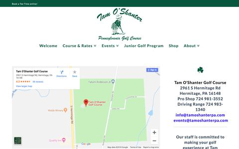 Screenshot of Contact Page tamoshanterpa.com - Contact Tam O'Shanter of Pennsylvania Golf Course | (724) 981-3552 - captured Oct. 18, 2018