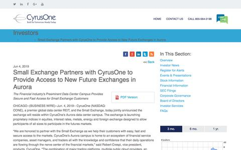 Screenshot of Press Page cyrusone.com - Small Exchange Partners with CyrusOne to Provide Access to New Future Exchanges in Aurora | CyrusOne - captured Nov. 27, 2019