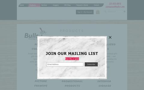 Screenshot of Products Page bulls-i.net - Awards and Gifts | Traverse City, Michigan | Bulls-i, Inc.  | Products - captured Oct. 7, 2018