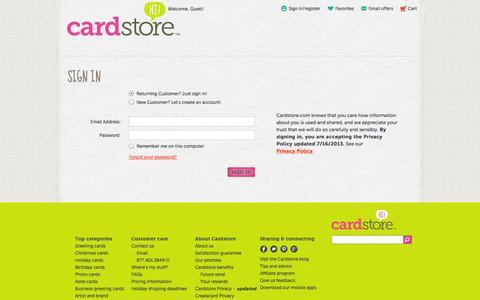 Screenshot of Login Page cardstore.com captured Nov. 1, 2014