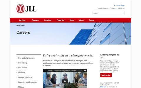 Screenshot of Jobs Page jll.com - JLL careers | Jones Lang LaSalle careers - captured Oct. 26, 2014