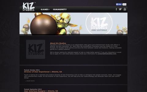 Screenshot of Jobs Page kizstudios.com - Kiz Studios - captured Nov. 3, 2014