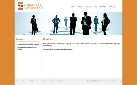 Screenshot of Services Page zormeloandassociates.com - Range of services for our clients - captured Oct. 7, 2014
