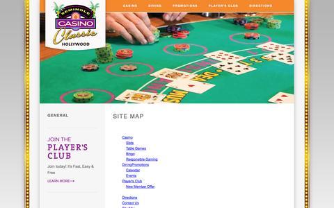 Screenshot of Site Map Page seminoleclassiccasino.com - South Florida Casinos | Seminole Classic Casino | Fort Lauderdale Blackjack Tournaments - captured Oct. 9, 2014