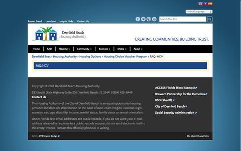Screenshot of FAQ Page dbhaonline.org - FAQ: HCV - Deerfield Beach Housing Authority - captured Oct. 5, 2014