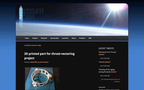 Screenshot of Press Page cusf.co.uk - News | Cambridge University Spaceflight - captured Oct. 1, 2014