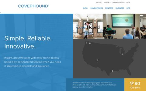 Screenshot of Contact Page coverhound.com - CoverHound | About Us - captured July 16, 2018