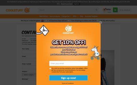 Screenshot of Contact Page coolstuff.com - Contact Us - Customer Service - captured June 14, 2019