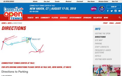 Screenshot of Maps & Directions Page ctopen.org - Directions | Connecticut Open - captured Sept. 29, 2018