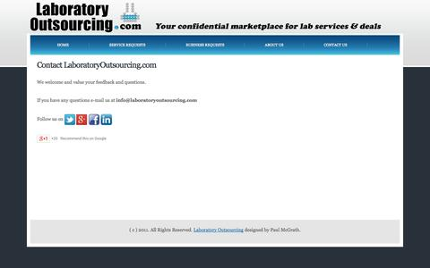 Screenshot of Contact Page laboratoryoutsourcing.com - LABORATORY OUTSOURCING - captured Oct. 1, 2014
