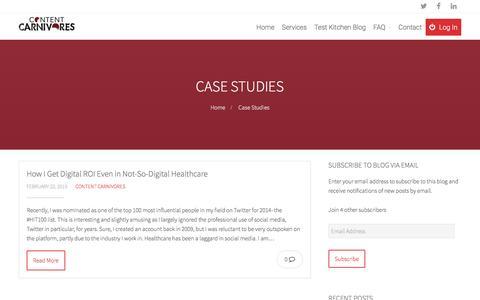 Screenshot of Case Studies Page contentcarnivores.com - Case Studies Archives - Content Carnivores - captured May 21, 2017