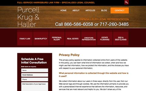Screenshot of Privacy Page pkh.com - Privacy Policy | Purcell, Krug & Haller | Harrisburg, Pennsylvania - captured Nov. 2, 2014