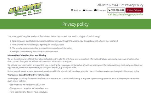 Screenshot of Privacy Page allbriteglass.ca - Privacy Policy - captured Nov. 20, 2016