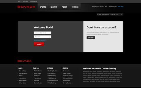 Screenshot of Login Page bovada.lv - Signin - captured Oct. 27, 2014