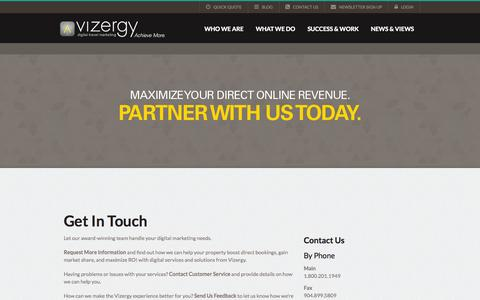 Screenshot of Contact Page vizergy.com - Partner With Us - captured Oct. 10, 2014