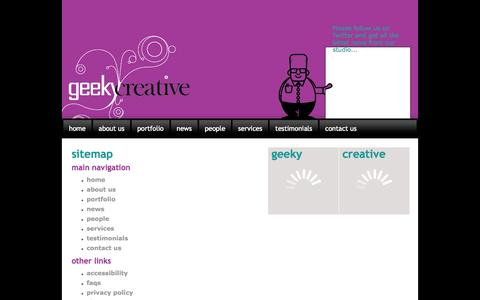 Screenshot of Site Map Page geekycreative.com - GeekyCreative - help getting around our website with our html sitemap - captured Sept. 29, 2014